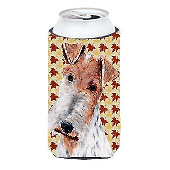 Wire Fox Terrier Fall Leaves Tall Boy Beverage Insulator Hugger