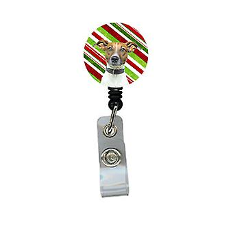 Candy Cane Holiday Christmas Jack Russell Terrier Retractable Badge Reel