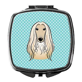 Carolines Treasures  BB1182SCM Checkerboard Blue Afghan Hound Compact Mirror