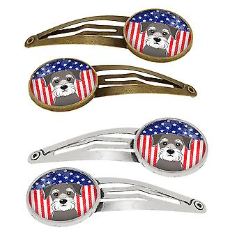 American Flag and Schnauzer Set of 4 Barrettes Hair Clips