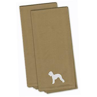Bedlington Terrier Tan Embroidered Kitchen Towel Set of 2