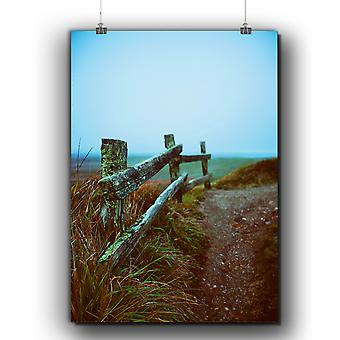 Matte or Glossy Poster with Wooden Fence Old Nature | Wellcoda | *q284