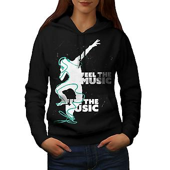 Club Dj Song Dance Music Women BlackHoodie | Wellcoda