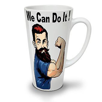 We Can Do It NEW White Tea Coffee Ceramic Latte Mug 17 oz   Wellcoda