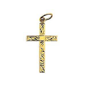 9ct Gold 20x13mm hand engraved solid block Cross