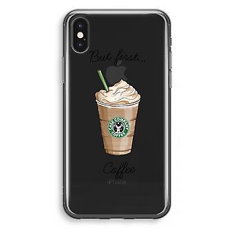 iPhone X Transparant fall (Soft) - men första kaffe
