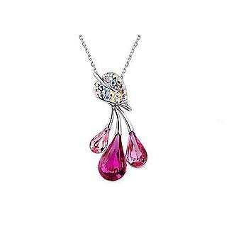 Rosa Womens smycken Set blomma blad vattendroppe hängsmycke halsband