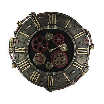 Steampunk Bronze Finish Rivet Plate Wall Clock With Moving Gears