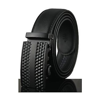 Cinturón hombre ajustable negro real de cuero y hebilla en acero negro