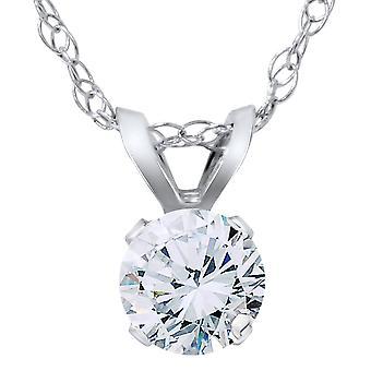 VS 3/8ct Diamond Solitaire Pendant 14K White Gold