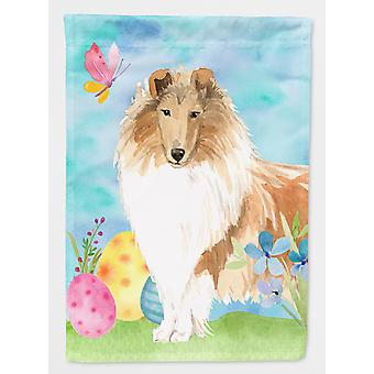 Carolines Treasures  CK1904CHF Easter Eggs Rough Collie Flag Canvas House Size