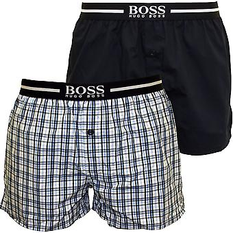 Hugo Boss 2-Pack Check & Solid Boxer Shorts, Blue/Navy