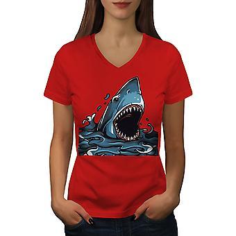 Shark Jaws Scary Animal Women RedV-Neck T-shirt | Wellcoda