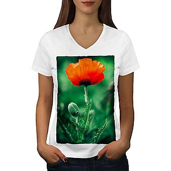 Flower Close Up Nature Women WhiteV-Neck T-shirt | Wellcoda