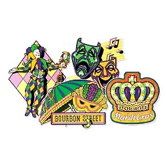 Mardi Gras Cutouts Printed On Both Sides 40.64cm (4 in a pack)