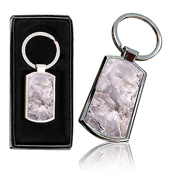 i-Tronixs - Premium Marble Design Chrome Metal Keyring with Free Gift Box (1-Pack) - 0049