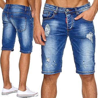 Men's Shorts jeans torn pants of men's shorts Stonewashed ripped holes