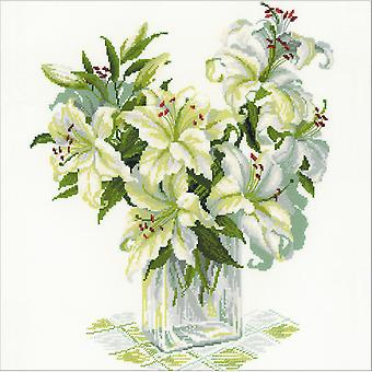 White Lilies Counted Cross Stitch Kit-17.75