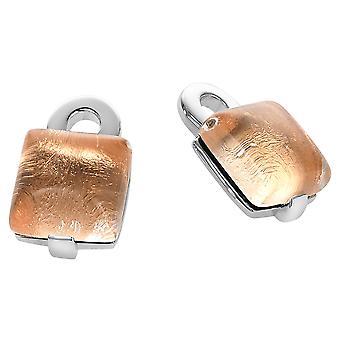 Orphelia argento 925 orecchino vetro oro rosa foglio ZO-5213