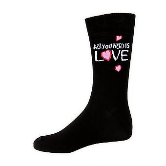 The Beatles All You Need Is Love Official Mens New Black Socks (UK Size 7-11)