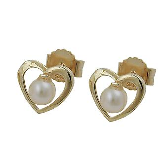 Heart Earrings heart studs earring gold heart, heart with Pearl, 9 KT GOLD 375