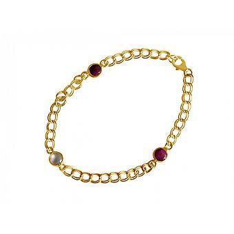 Damen - Armband - Vergoldet - Rubin - Rosenquarz - Rot - Rosa - Kette - Geschmeidig