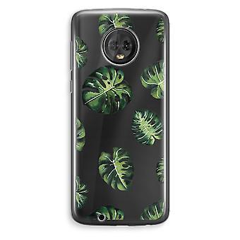 Motorola Moto G6 Plus Transparent Case (Soft) - Tropical leaves