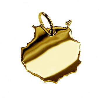 Trailer map pendants in gold yellow-gold in the form of GRAN CANARIA