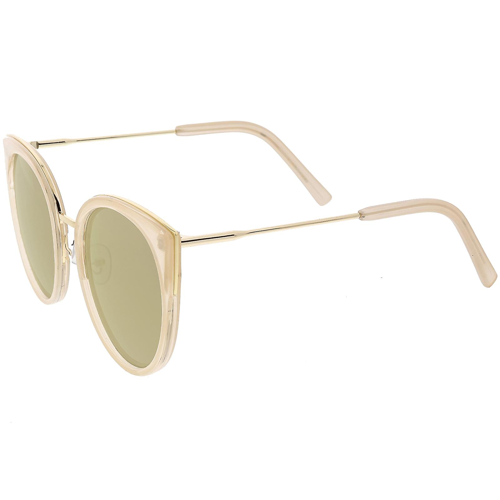 5e4fd392b93c8 Women s Oversize Cat Eye Sunglasses Round Colored Mirror Lens 55mm ...