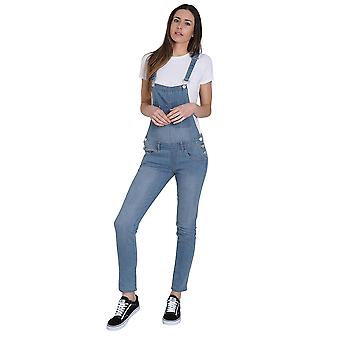 Blue Denim Skinny Fit Dungarees Ladies Bib Overalls Narrow Leg