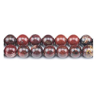 Strand 45+ Red Poppy Jasper 8mm Plain Round Beads GS1610-3
