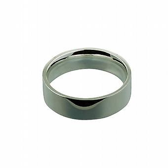 Silver 7mm plain flat Court shaped Wedding Ring Size Z