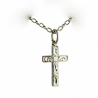 9ct Gold 17x10mm hand engraved solid block Cross with belcher Chain 16 inches Only Suitable for Children
