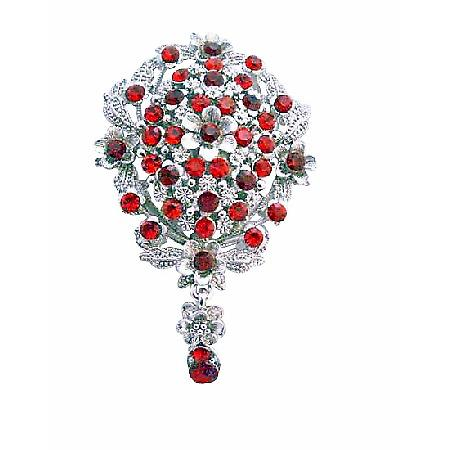 Bridal Siam Red Crystals Silver Casting Brooch
