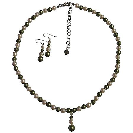 Customize Pearls Jewelry Set Made w/ Genuine Swarovski Green & Ivory Pearls NecklaceSet w/ Drop Down