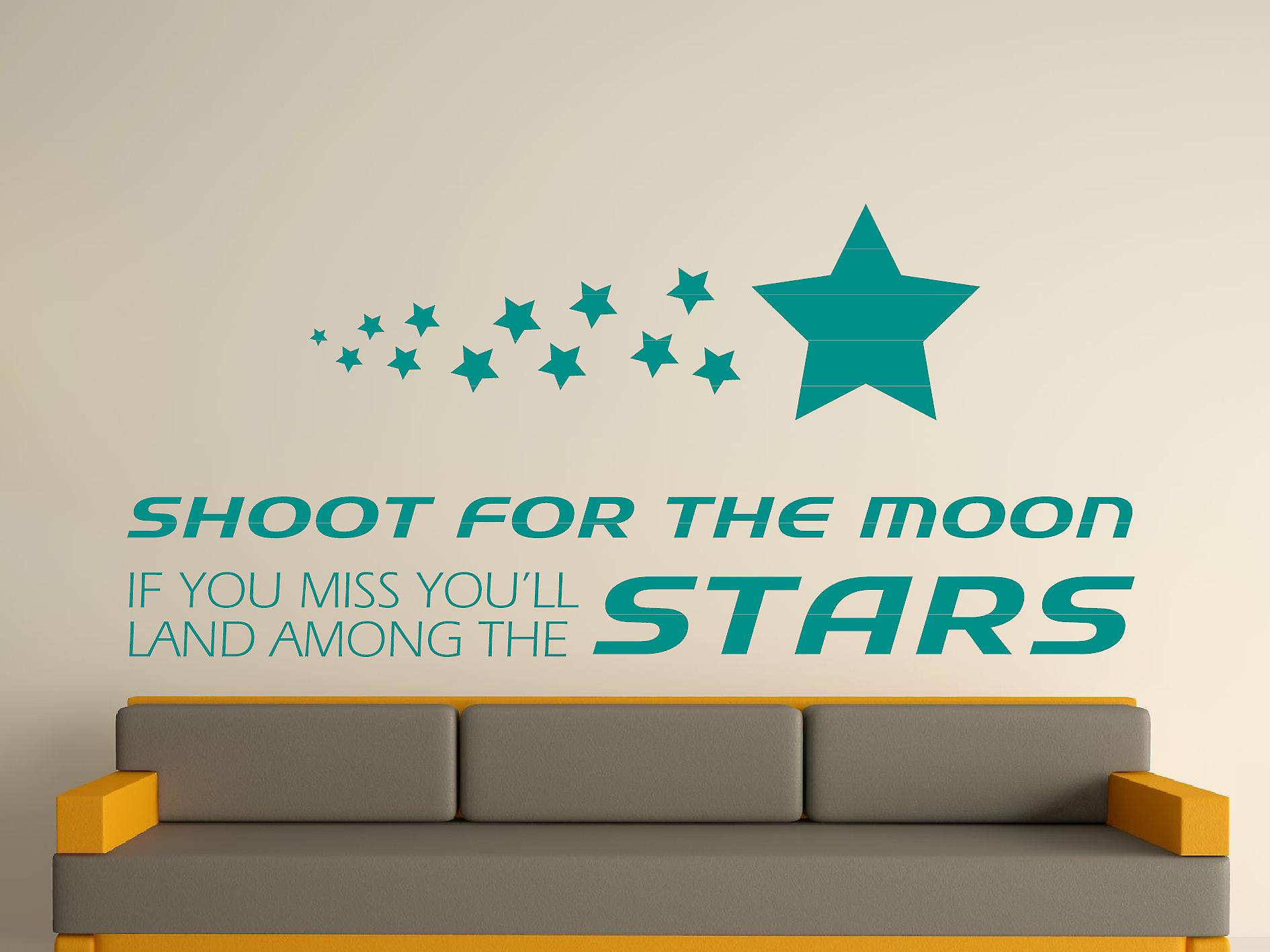 Shoot For The Moon Wall Art Sticker - Aqua Green