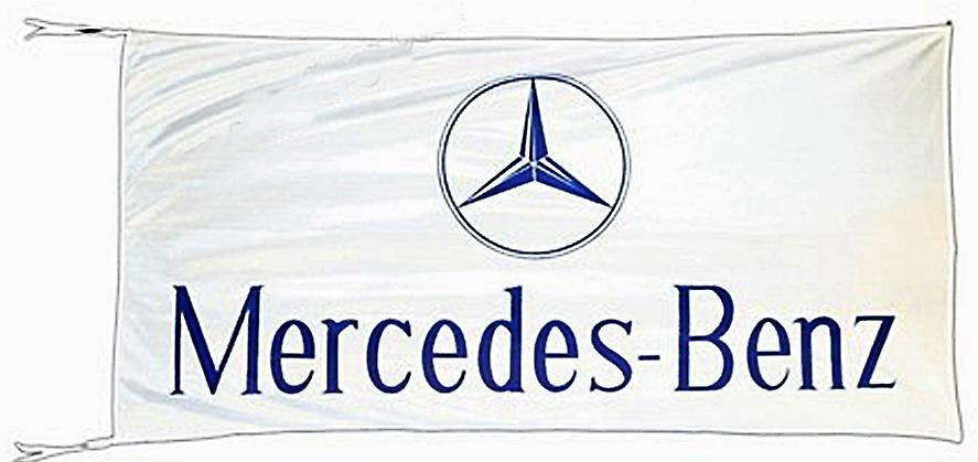 Large Mercedes Benz flag (white bgrd)  1500mm x 900mm    (of)