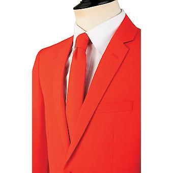 d/Spoke Mens Chilli Red 2 Piece Suit Regular Fit Notch Lapel Novelty Partywear
