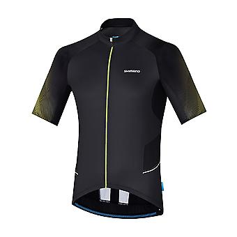 Shimano Black-Lime Yellow Mirror Cool Short Sleeved Cycling Jersey