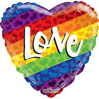 Folieballong arco iris, orgullo de corazón-amor-46 cm (18