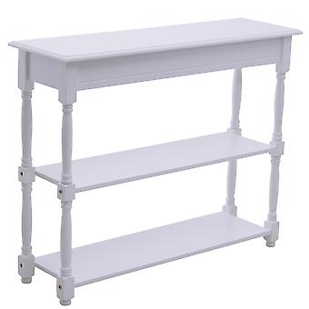 HOMCOM Wooden Entryway 3 Tier Console Table Vintage Entrance Storage Shelves Wood Hallway Sideboard Living Room Display Furniture Classic White