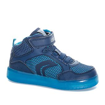 Junior Boys Geox Kommodor Mid Trainers In Navy- Hook And Loop Fastening-