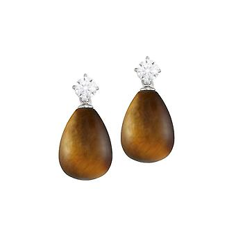 Eternal Collection Supreme Tiger's Eye And CZ Sterling Silver Drop Pierced Earrings