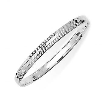 Eternity Sterling Silver Broad Diamond Cut Patterned Bangle