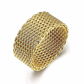 Woven Mesh Ring-Gold-Size 6