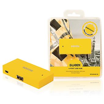 Sweex Barcelona 4 Port USB Hub - Yellow