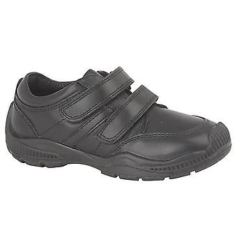 Infant Boys Formal Shoes Leather Touch Fastening Rubber Toe Guard School