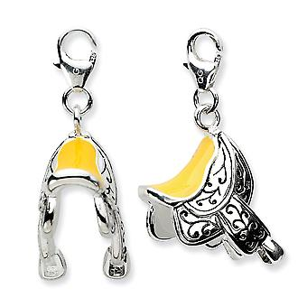 925 Sterling Silver Rhodium plaqué Finition antique Fancy Lobster Closure 3-d Enameled Saddlew Lobster Clasp Charm - Measu