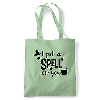 I Put A Spell On You Tote | Halloween Fancy Dress Costume Trick Or Treat | Reusable Shopping Cotton Canvas Long Handled Natural Shopper Eco-Friendly Fashion