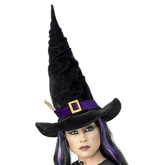 Black Pointy Witches Hat Purple Buckle And Twig Halloween Costume